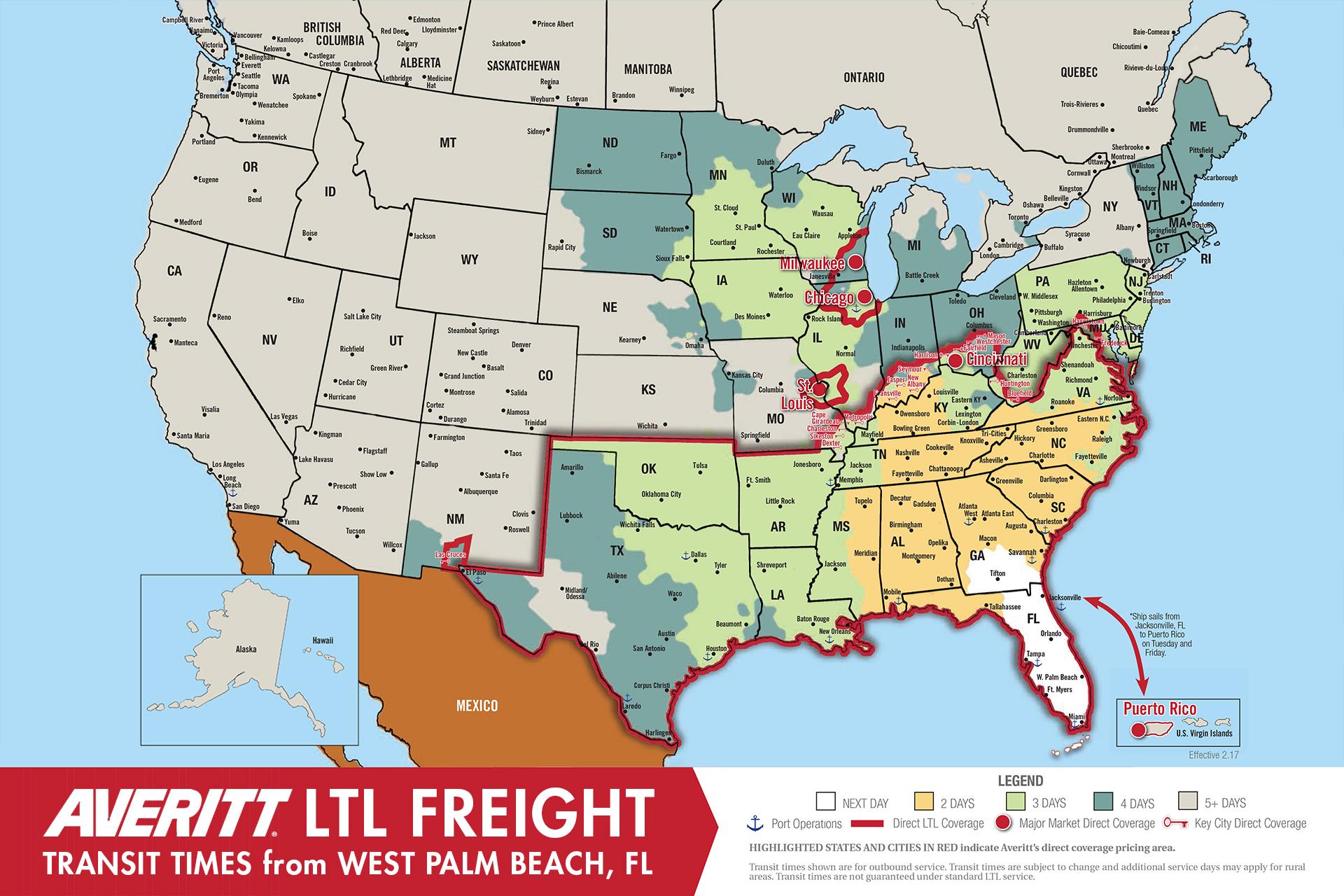 Image Result For Ltl Transit Times Map